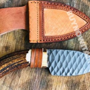 Hand Forged D2 Carbon Steel Hunting Knife Skinner Knife With Leather Sheath