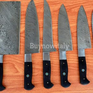 Damascus Steel Chef Set With Leather Sheath Good Shape & Best Gift