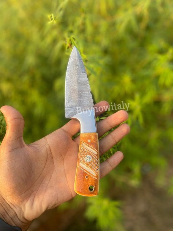 Hand Forged Damascus Skinner knife With Camel Bone Handle