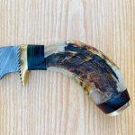 Custom Handmade Damascus Skinner Fixed blade With Leather Sheath