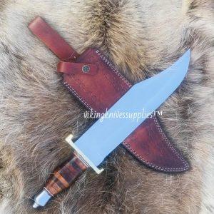 Custom Handmade Bowie knife With Leather Sheath