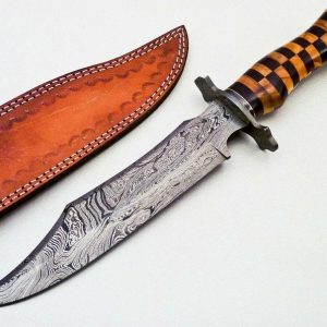 """Damascus Steel Hunting Bowie Knife 15"""" Hunting knife Unique blade Engraved knife Gift For him"""