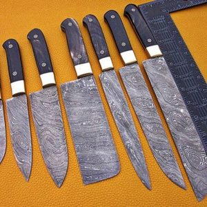 Chef Knives Set Damascus Steel Slicer, Fillet, Cleaver With Free Roll