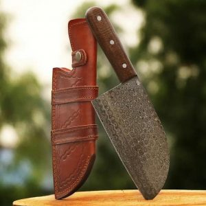 Handmade Damascus Steel Serbian Chef Cleaver Chopper Knife