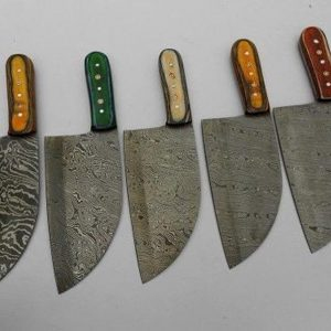 Lot of 5 Damascus Steel Blades Chef Kitchen Chopper Serbian Style