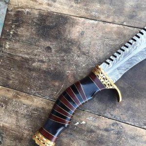VKS-101 Damascus feather pattern Bowie knife