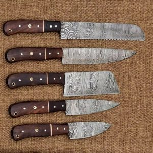 5 PC's Damascus Steel Kitchen with Chopper Or Cleaver With Leather Bag