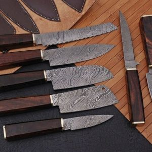 "7""PC's Hand Forged Damascus Steel Chef Knife Kitchen Knives Set"