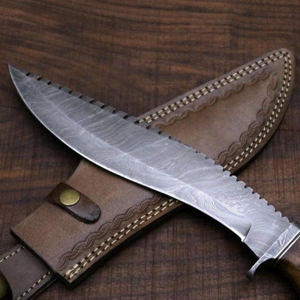Amazing Damascus kukri knife with Leather Sheath