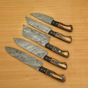 5 PC's Damascus Steel Kitchen Chef Utility Knife Set with Chopper with 5 Pocket Roll & Leather Bag