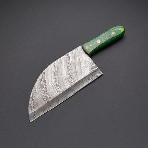 Handmade Damascus Serbian chef knife Green Dollar sheet Beautiful
