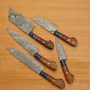 5 PC's Damascus Steel Kitchen Chef With Chopper And Leather Bag