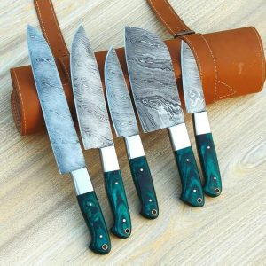 Custom Handmade Damascus Chef Knife Set and Best Gift