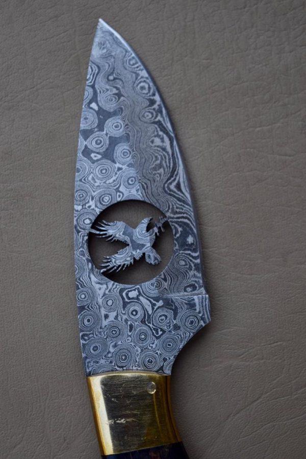 Handmade Damascus Skinner knife With Leather Sheath
