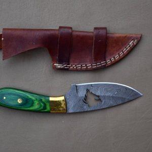 Handmade Damascus Skinner knife With Leather Sheath Christmas Present