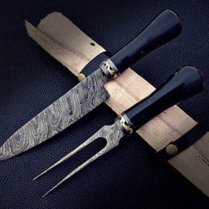 2 PC's Custom Handmade Damascus Knife & Steel Chef Knife Set