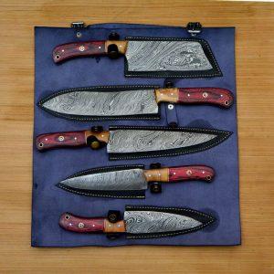 2021/Amazing Damascus knives Set with Leather Sheath & Best Gift