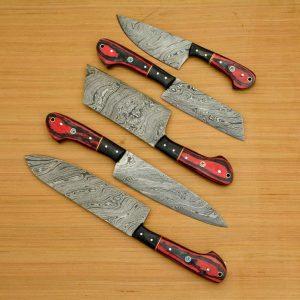 2021/Amazing Damascus knives Set With Leather Sheath