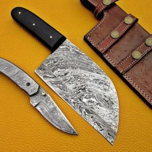 Pair Of 2 Damascus Steel Folding knife Damascus Cleaver knife