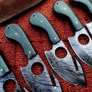 """7"""" Micarta Handle Grip Custom Gut Hook Skinning knives Lot of 5"""