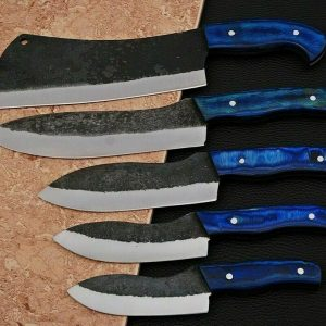 5 PC's Handmade Carbon Steel Forge Chef Set with Coaler Wood Handle
