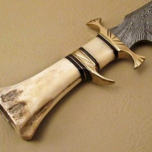 Beautiful Bowie knife In Damascus Pattern With Camel Bone handle